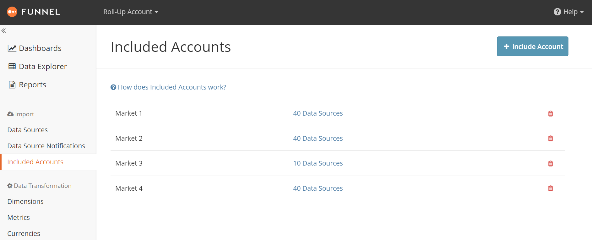 Included accounts section - Market
