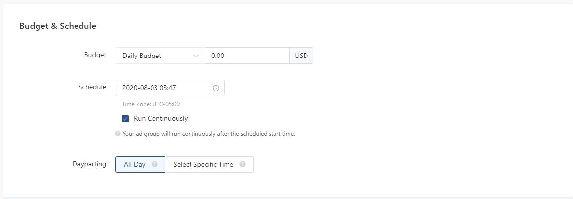 tiktok budget and schedule