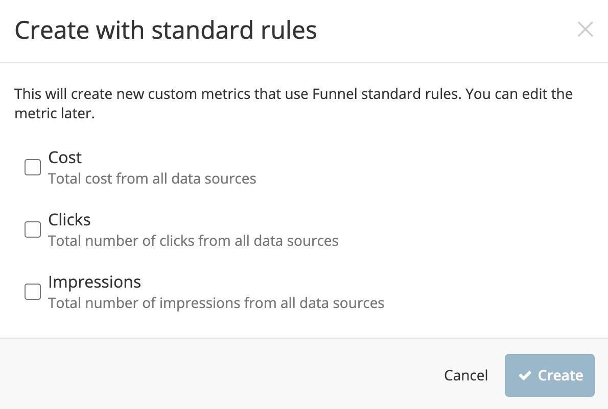 Custom metric start options
